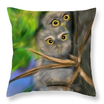 Throw Pillow featuring the digital art Baby Owls by Christine Fournier