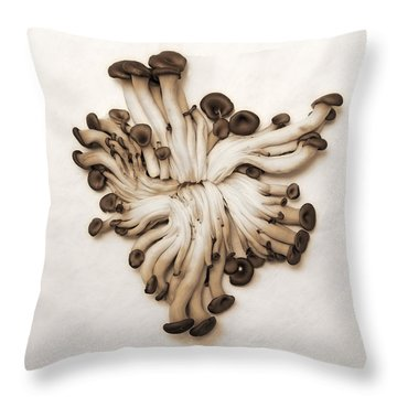 Baby Oyster Mushroom Throw Pillow