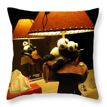 Baby Pandas In A Saddle  Throw Pillow by Ausra Huntington nee Paulauskaite