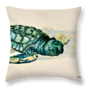 Da150 Baby Sea Turtle By Daniel Adams  Throw Pillow
