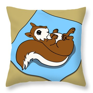 Baby Squirrel Throw Pillow by Christy Beckwith