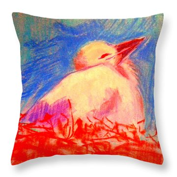 Baby Stork Throw Pillow