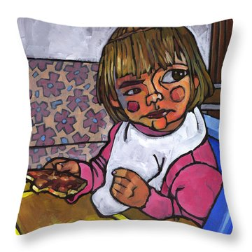 Baby With Pizza Throw Pillow by Douglas Simonson