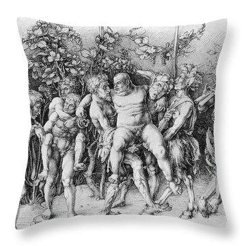 Bacchanal With Silenus - Albrecht Durer Throw Pillow by Daniel Hagerman