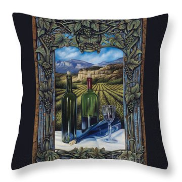 Bacchus Vineyard Throw Pillow by Ricardo Chavez-Mendez