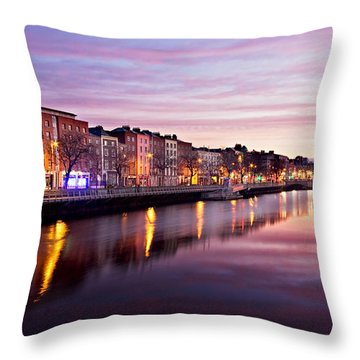 Bachelors Walk And River Liffey At Dawn - Dublin Throw Pillow