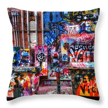 Back Alley Canvas Throw Pillow