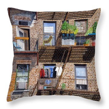 Back Alley View Greenwich Vlg Throw Pillow by Stuart B Yaeger