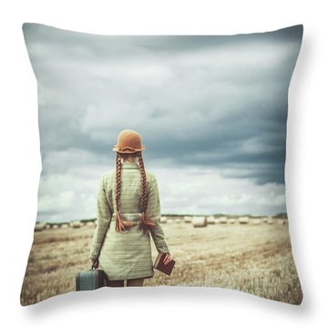 Woman Reading Throw Pillows