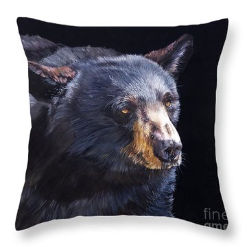Back In Black Bear Throw Pillow