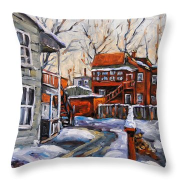Back Lanes 02 Montreal By Prankearts Throw Pillow by Richard T Pranke