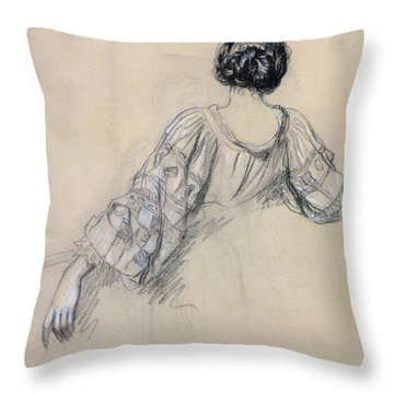 Back Of A Young Woman Throw Pillow by Antoine Auguste Ernest Herbert