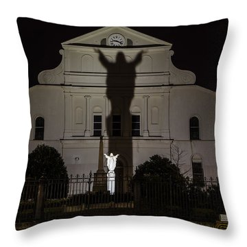 Back Of St Louis Cathedral In New Orleans Throw Pillow