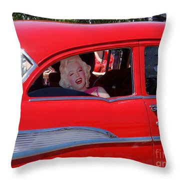 Throw Pillow featuring the photograph Back Seat Marilyn by Ed Weidman