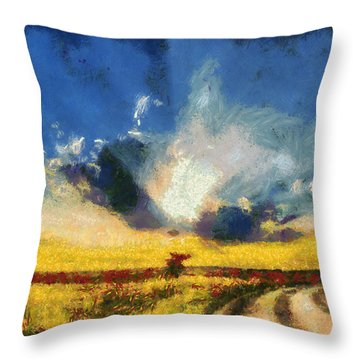 Throw Pillow featuring the painting Back To Goodbye by Joe Misrasi