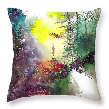 Back To Jungle Throw Pillow by Anil Nene