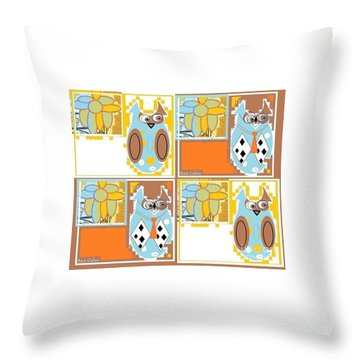 Back To School Owl Throw Pillow by Ann Calvo