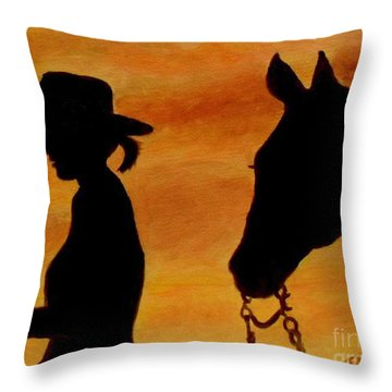 Throw Pillow featuring the painting Back To The Barn by Julie Brugh Riffey