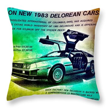 Back To The Delorean Throw Pillow
