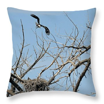Back To The Nest Throw Pillow by Bob Hislop