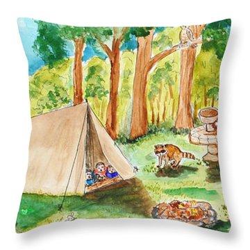 Back Yard Camp Throw Pillow