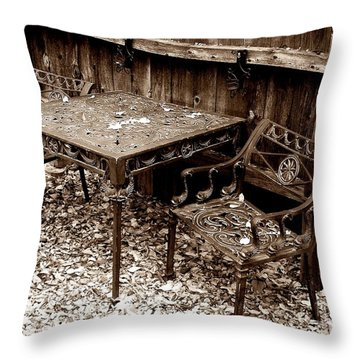 Back Yard Iron Throw Pillow by Tom Riggs
