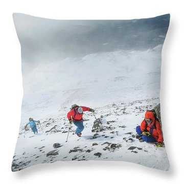 Backcountry Ski Tour To The Highest Throw Pillow