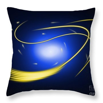 Background Blue Glow Lines Throw Pillow by Henrik Lehnerer