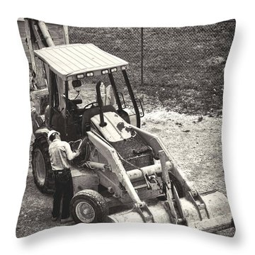 Backhoe Bw Throw Pillow