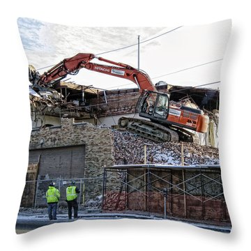 Backhoe Demolition Throw Pillow by Daniel Hagerman