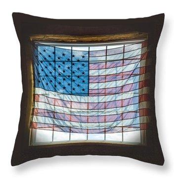 Backlit American Flag Throw Pillow
