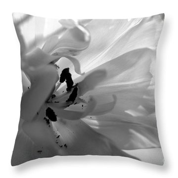 Backlit Black And White Tulip Throw Pillow