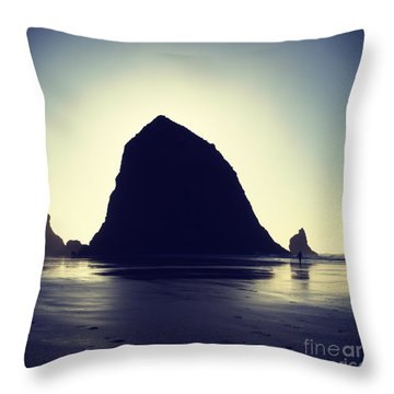 Backlit Haystack Rock - Hipster Photo Square Throw Pillow