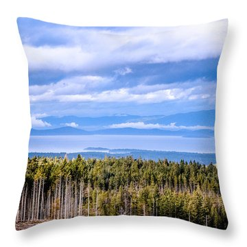 Johnstone Strait High Elevation View Throw Pillow