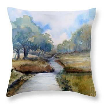 Throw Pillow featuring the painting Backroads Of Georgia by Sally Simon