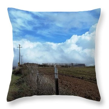 Backroads- Telephone Poles- And Barbed Wire Fences Throw Pillow