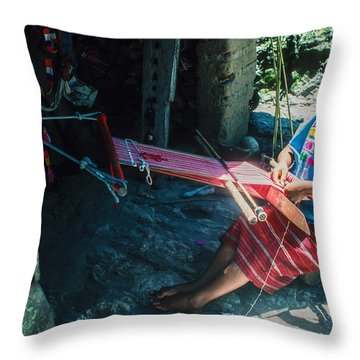 Throw Pillow featuring the photograph Backstrap Loom by Tina Manley