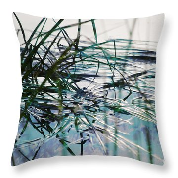 Backwater In Blues Throw Pillow by Cynthia Lagoudakis