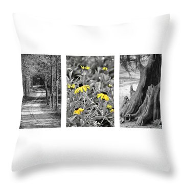 Backwoods Escape Triptych Throw Pillow by Carolyn Marshall