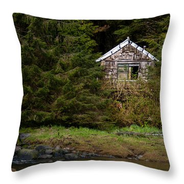 Backwoods Shack Throw Pillow by Melinda Ledsome