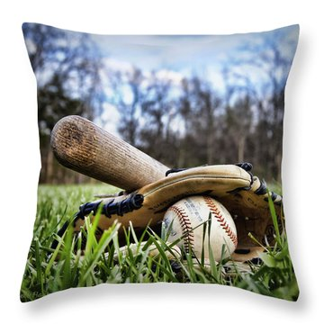 Backyard Baseball Memories Throw Pillow