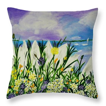 Backyard Beach Throw Pillow by Celeste Manning