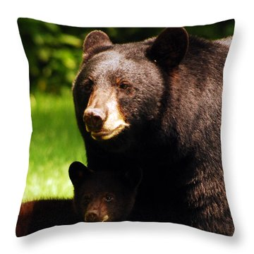 Backyard Bears Throw Pillow