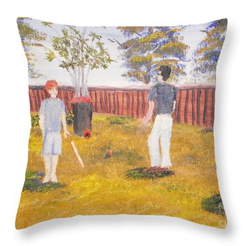 Throw Pillow featuring the painting Backyard Cricket Under The Hot Australian Sun by Pamela  Meredith