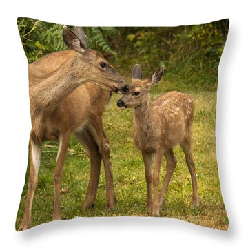 Throw Pillow featuring the photograph Motherly Love by Inge Riis McDonald