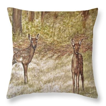 Backyard Fawns Throw Pillow by Meagan  Visser