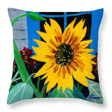 Backyard Flowers  Throw Pillow