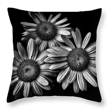 Backyard Flowers In Black And White 12 Throw Pillow by Brian Carson