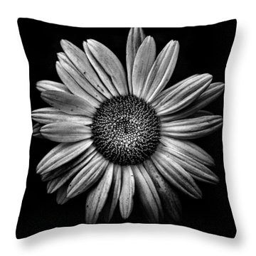 Backyard Flowers In Black And White 13 Throw Pillow by Brian Carson