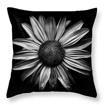 Backyard Flowers In Black And White 18 Throw Pillow